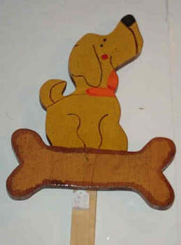 Handcrafted decorative wood yard stake - dog with bone plaque stake